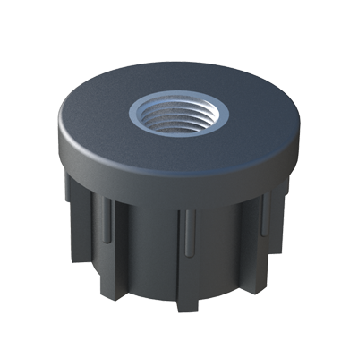 Our round reinforced tube inserts allow to assemble structures of tubes on levelling feet quickly. It has a nickel-plated brass threaded insert inside, which has been inserted during the injection process. It is also available for square tubes: JTPOA.