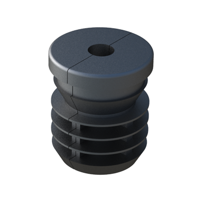 Our ribbed insert is for round tubes. It has been designed in two parts, with a hexagon metal nut in the inside.