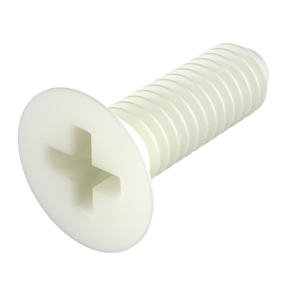 Our nylon flat phillips head screws (countersunk phillips head screws) provide excellent resistance against chemicals (see table of properties). It is a material with a high level of dielectric strength, it does not rust and prevents damage due to breaking strength during mechanical stress.