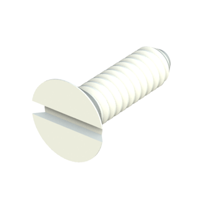 Our nylon 82º flat head (countersunk head) screws provide excellent resistance against chemicals (see table of properties). It is a material with a high level of dielectric strength, it does not rust and prevents damage due to breaking strength during mechanical stress. Our flat head screws in polycarbonate are transparent.